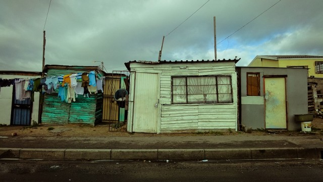 A photo of houses in a township in Cape Town, South Africa