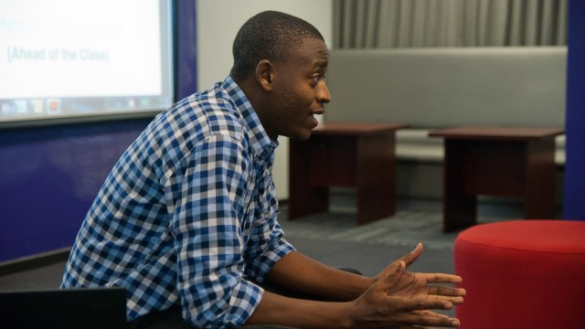 Ludwick Marishane giving a talk at an Ineng event held at UCT