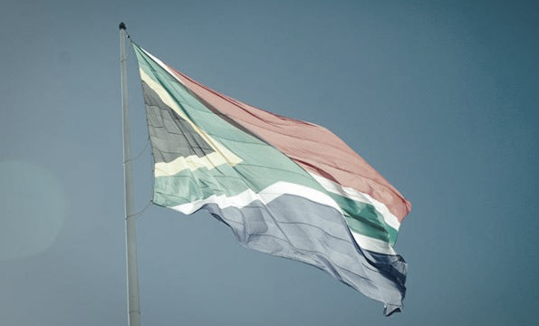 A photo of the South African flag