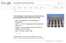 A screenshot showing the search result for SA government policies