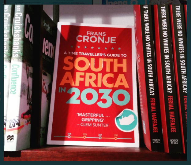 A photo about a book covering the future of South Africa