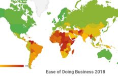 A map showing the ease of doing business worldwide