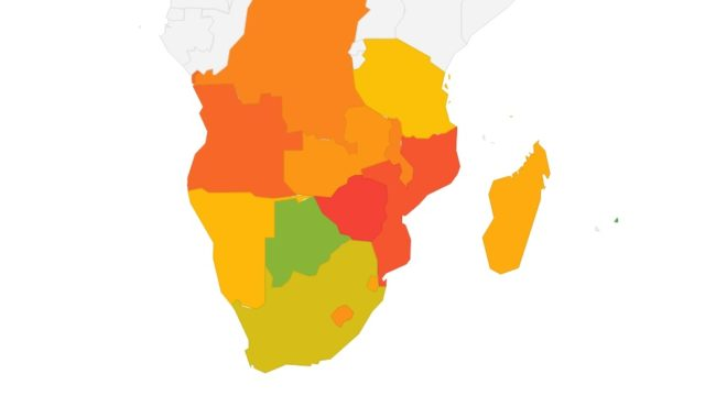 A map made using Google Data Studio showing the level of Economic Freedom among SADC countries in 2018