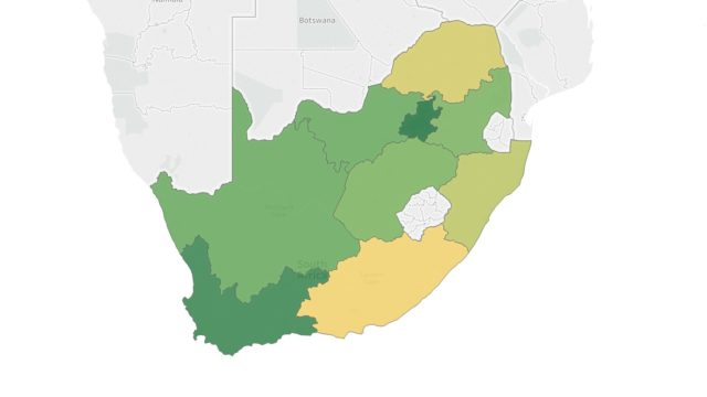 A map showing the provinces of South Africa by Gross Domestic Product per capita