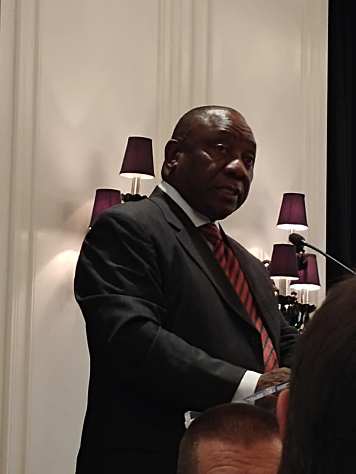 Cyril Ramaphosa speaking at a conference in Toronto Canada