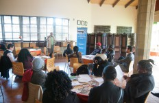 A photo of Temba Nolutshungu speaking at an Ineng EPP event