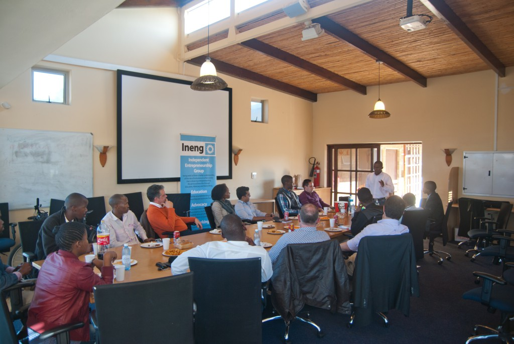 Sizwe Nzima speaking at an Ineng Entrepreneurs in Public Policy event