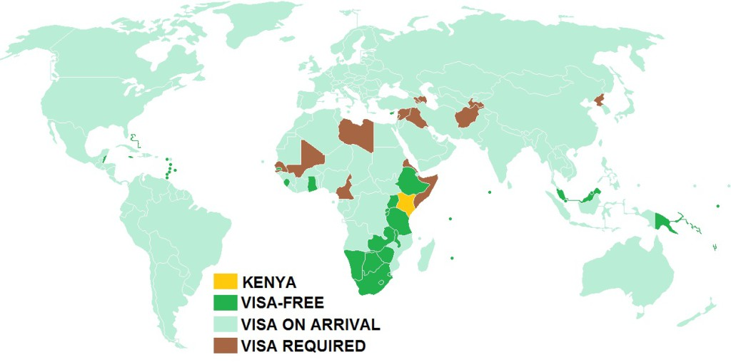 A map of Kenya - Visa Policy Map