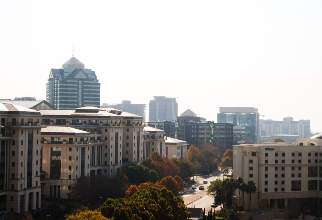 A photo of the skyline of Sandton in Johannesburg, South Africa