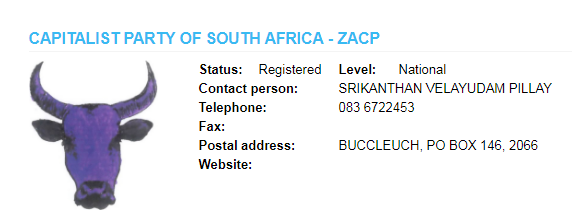 Capitalist Party of South Africa is registered with the IEC